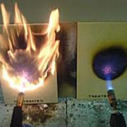 Fire retardant coating for wood prevents the spread of flame and staves off ignition.