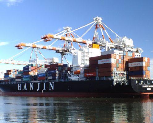Marine paint applied on a cargo vessel