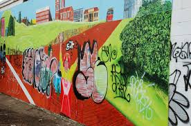 wall in Edmonton with graffiti