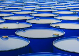 Chemical resistant coating on blue barrels