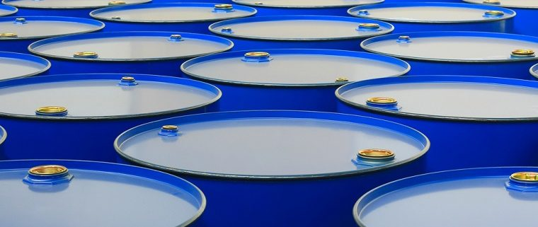 Chemical resistant coating on blue barrels