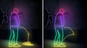 demonstration of anti pee paint wall