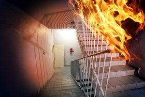 Fireproof paint for steel stairs damps flames and insulates steel.