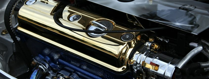 automotive powder coating on a tuned car engine