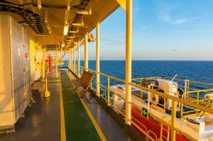 Epoxy coating on ship