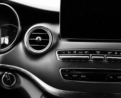 automotive plastic coatings in a car interior