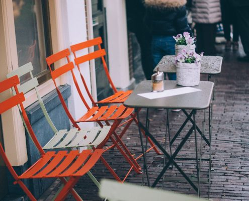 orange chairs by powder coating furniture