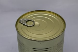 a metal can with a packaging coating treatment
