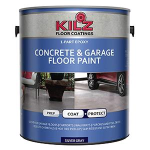 KILZ 1 Part Epoxy Acrylic Interior + Exterior Concrete & Garage Floor Paint, Satin, Silver Gray