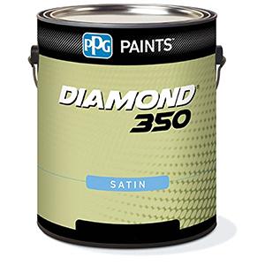PPG Paints Diamond 350 Acrylic Paint, Satin, 1 gal, Fortis 350, Exterior Paint, White