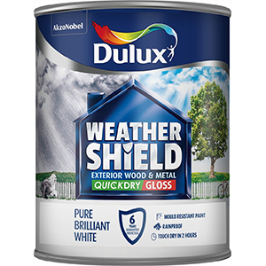 Dulux Weathershield Quick Dry Exterior Gloss Brilliant White WATER-BASED EXTERIOR