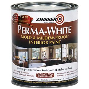 Zinsser 02754 Perma-White Mold & mildew-proof Interior paint Semi-Gloss White